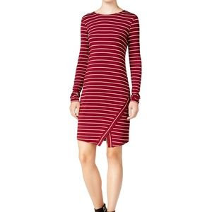 Kensie Stretch Striped Scissor Hem Sheath Dress